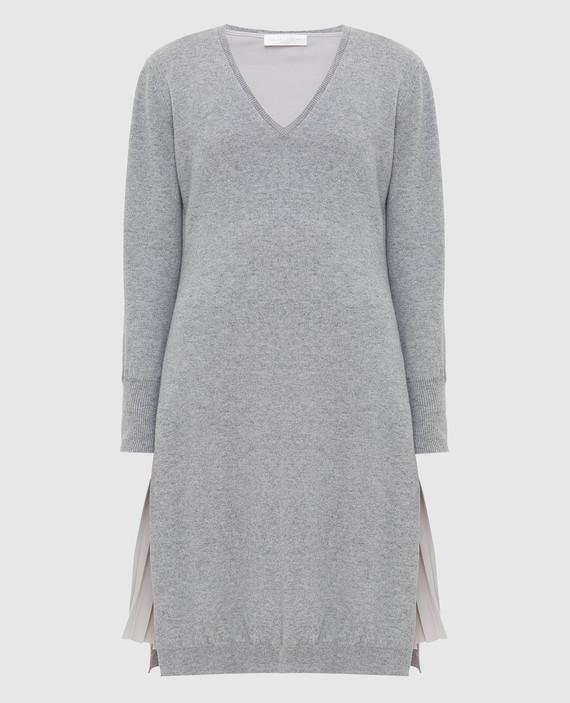 Серое платье из шерсти, шелка и кашемира