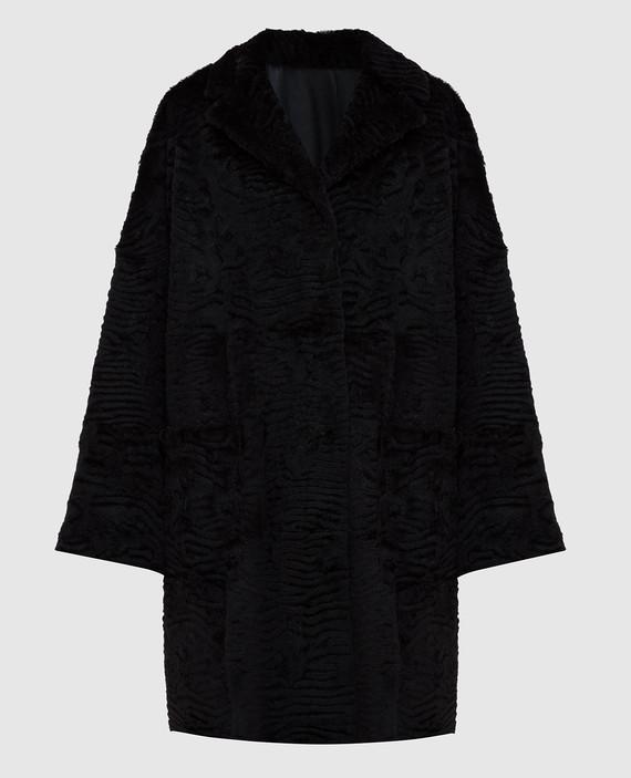 Черное пальто из меха кролика