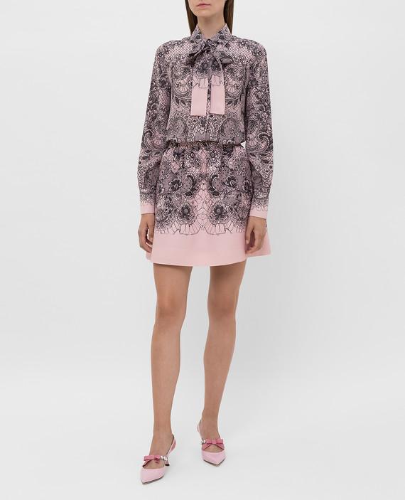 Розовая юбка из шерсти и шелка hover