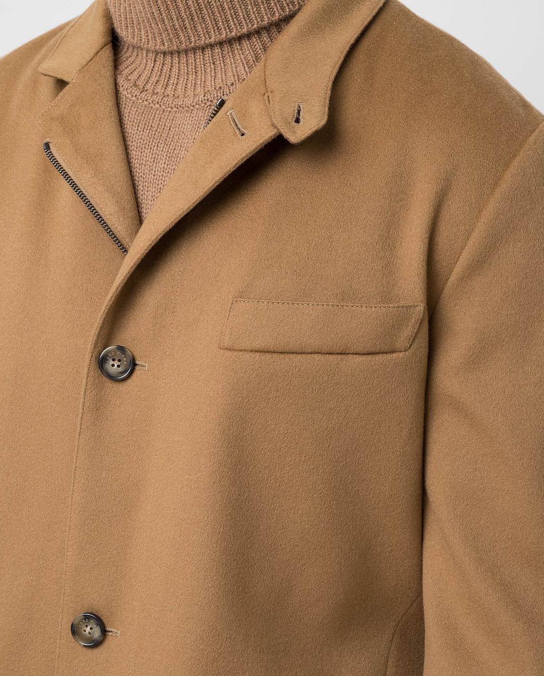 Loro Piana Темно-бежевое пальто из кашемира изображение 5