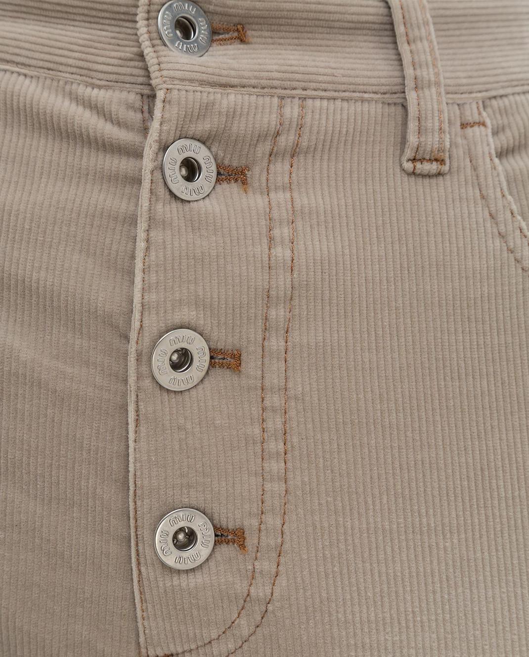 Miu Miu Бежевые вельветовые джинсы изображение 5