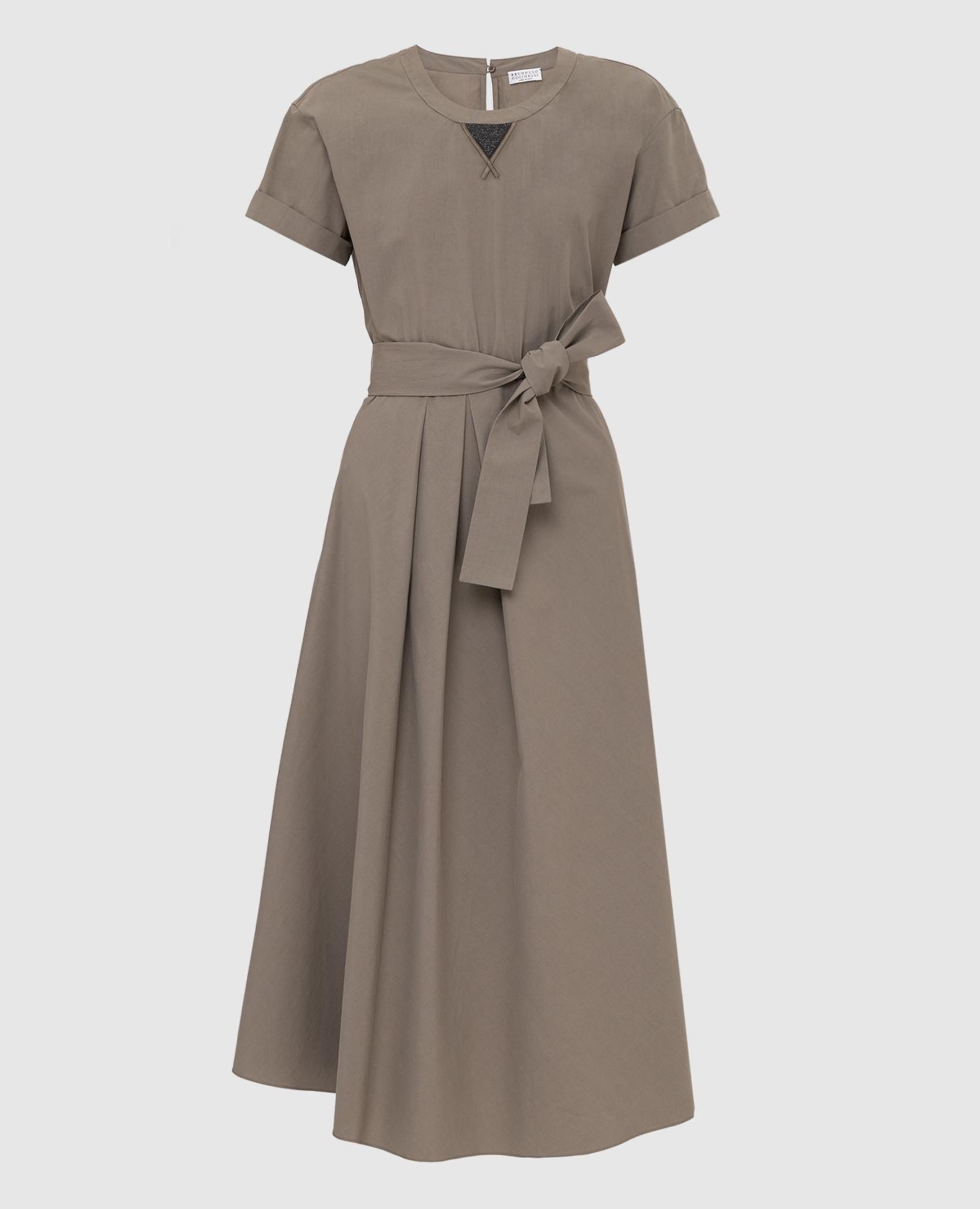 Темно-бежевое платье