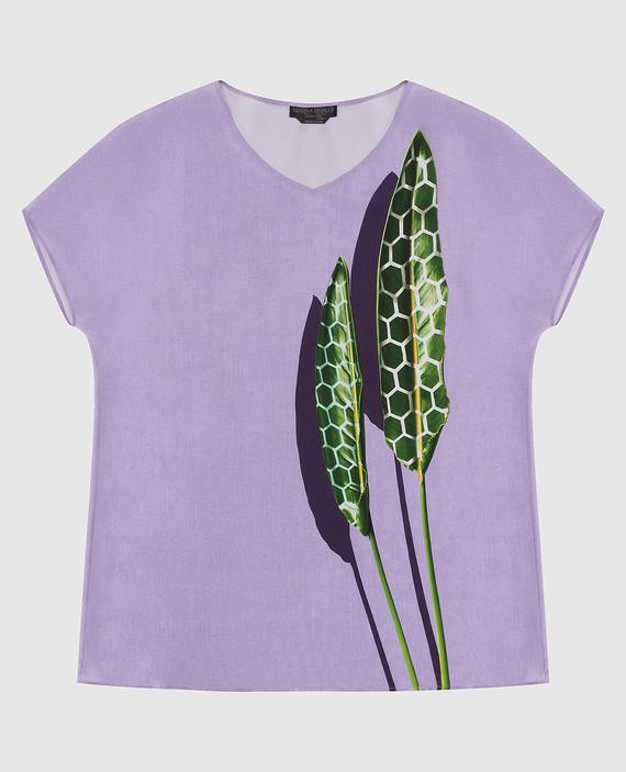 Сиреневая блуза из шелка
