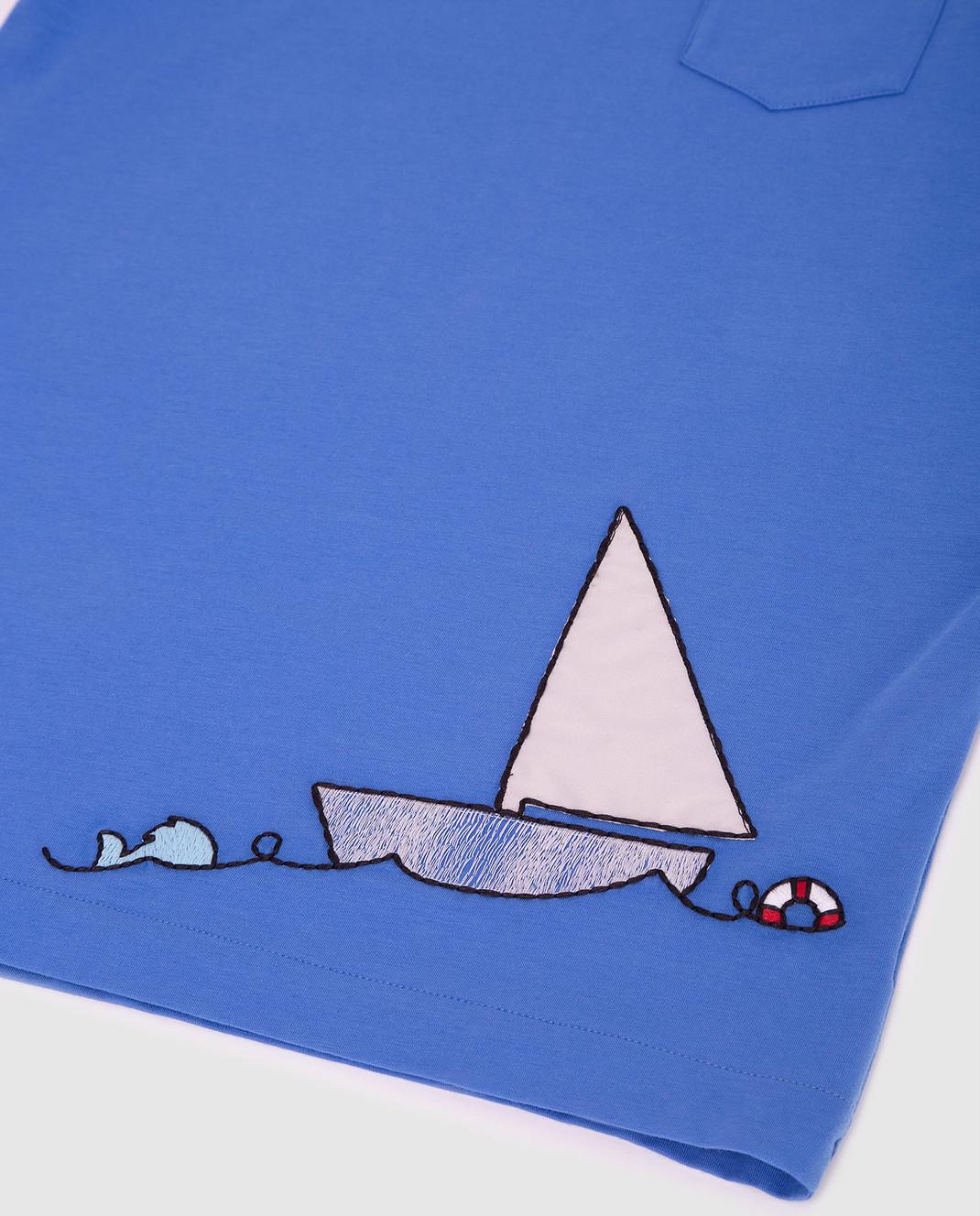 Loro Piana Детская синяя футболка F2FAI0800 изображение 3