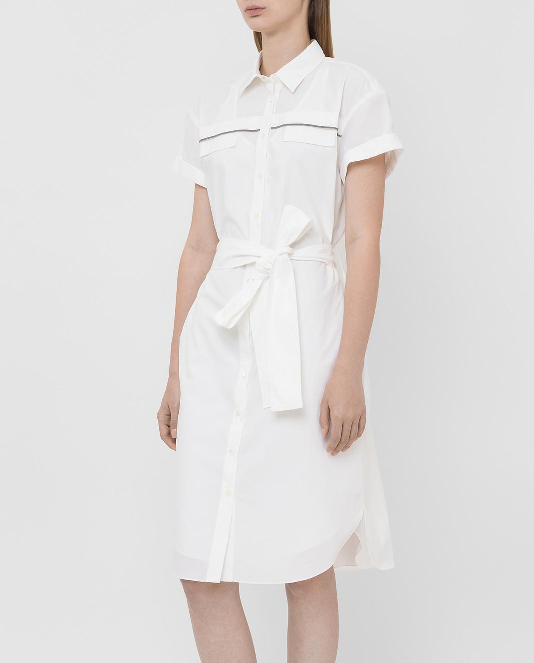 Brunello Cucinelli Белое платье MH127AFM52 изображение 3