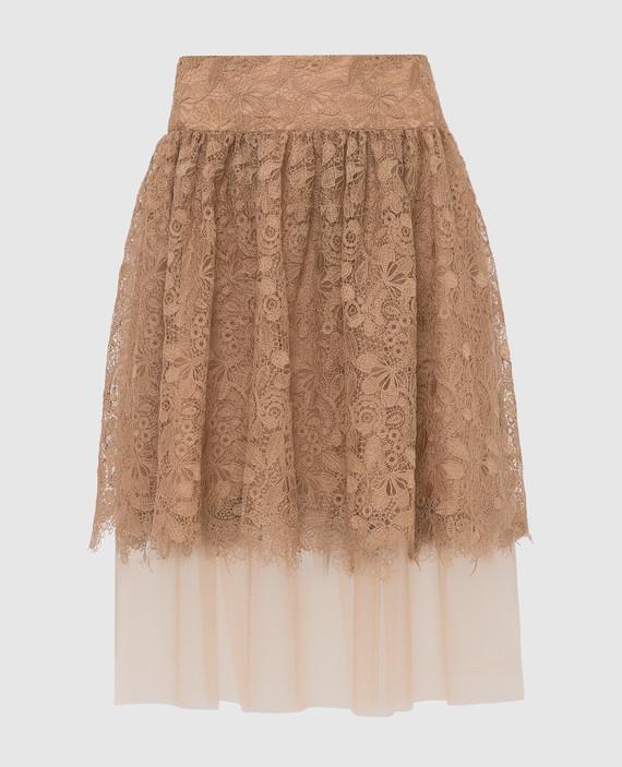 Бежевая юбка из кружева