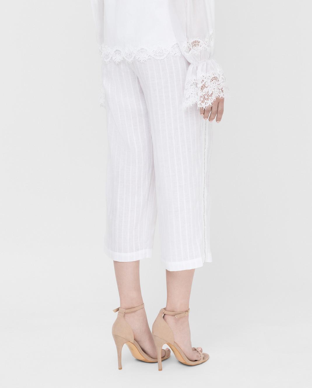 Ermanno Scervino Белые брюки из льна с кристаллами D362P302GYC изображение 4