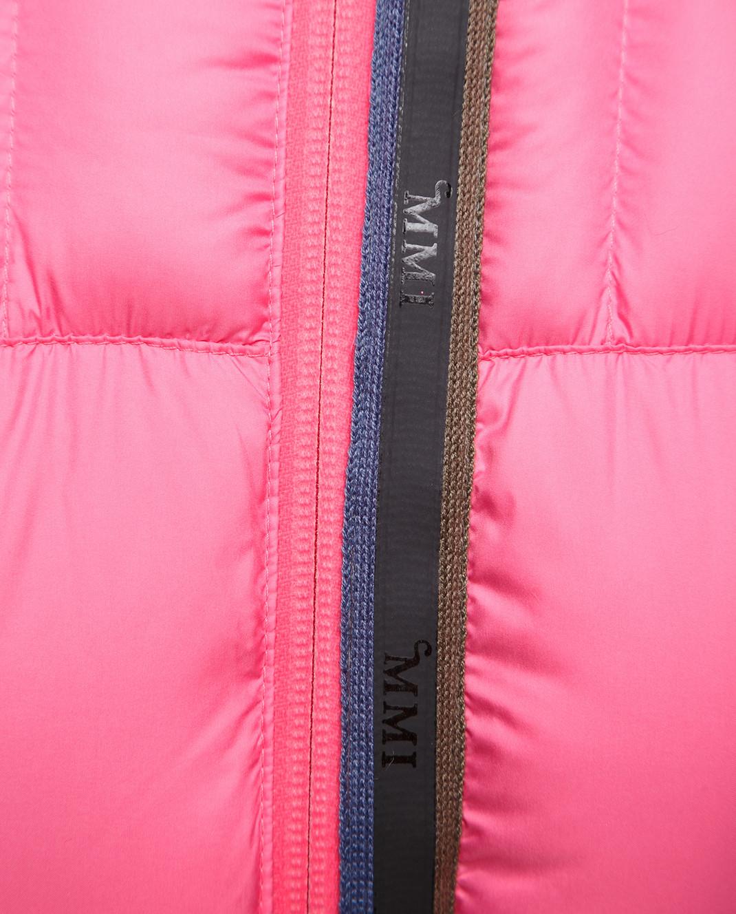 Mr&Mrs Italy Розовый пуховик с мехом уссурийского енота OV055 изображение 5