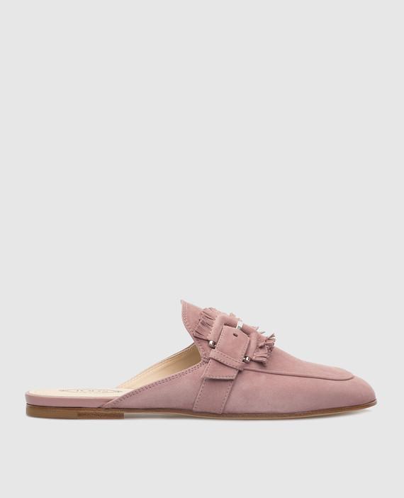 Розовые замшевые мюли