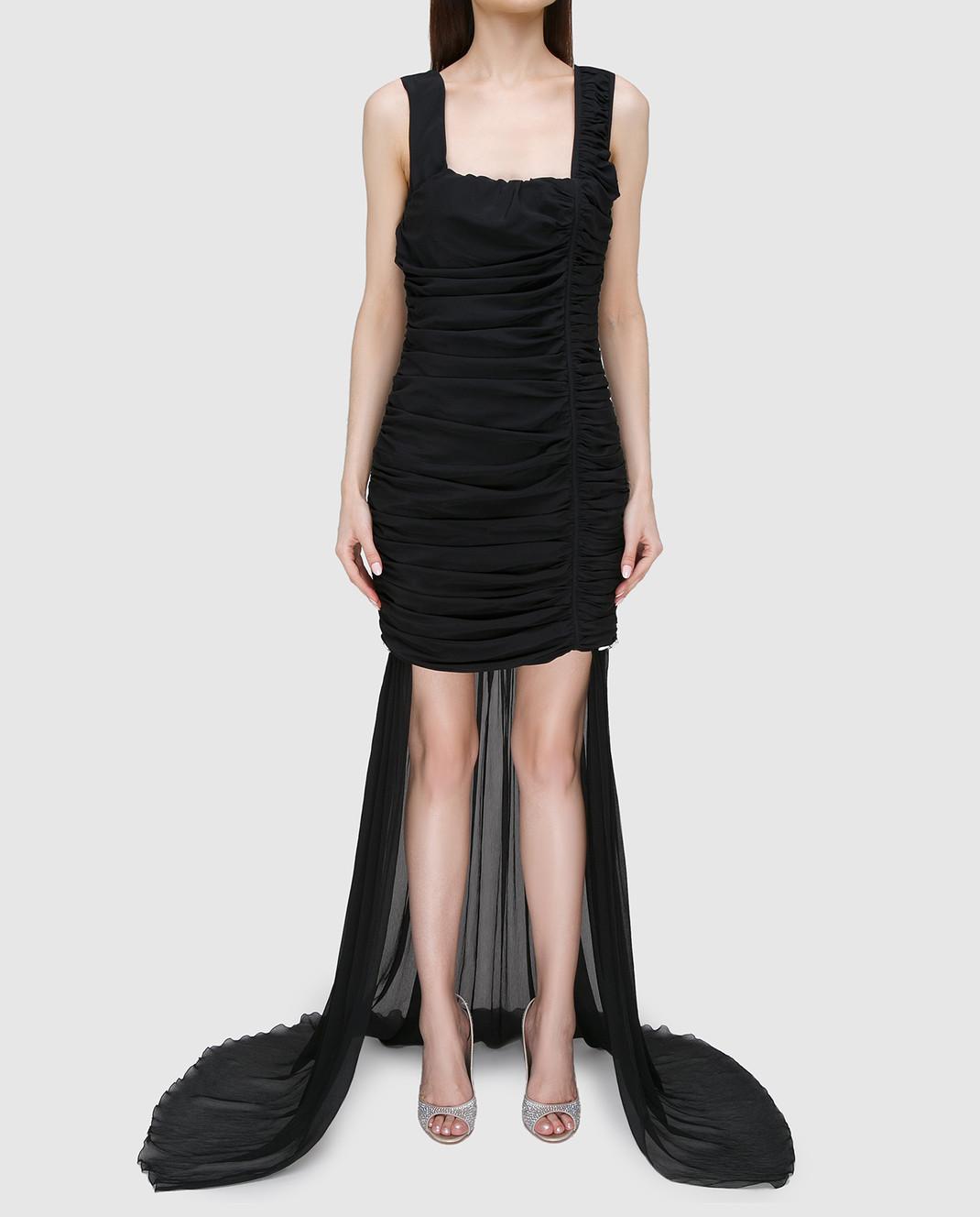 Blumarine Черное платье из драпированного шелка со шлейфом 58456 изображение 3