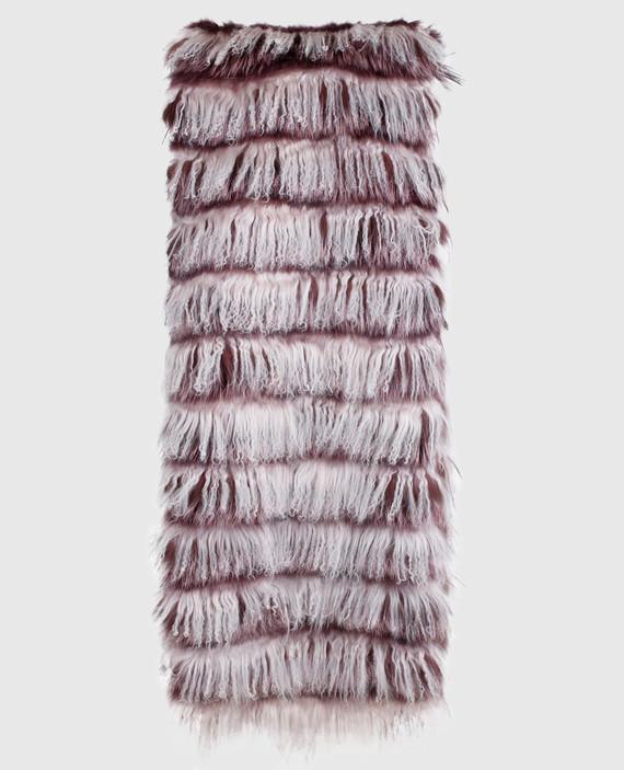 Серый шарф из меха ламы и лисы