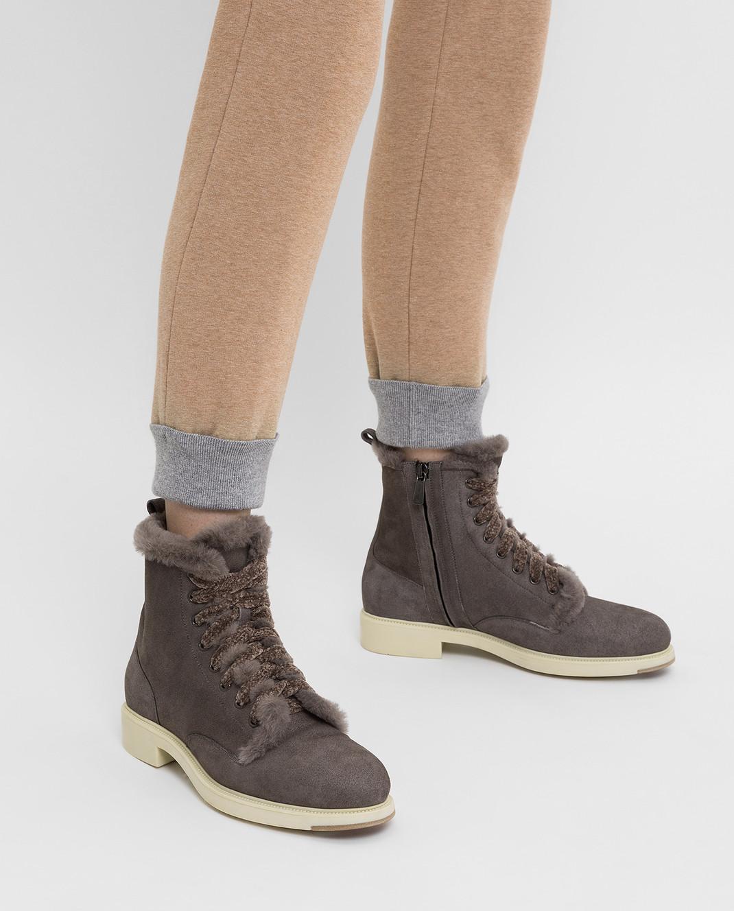 Santoni Темно-серые замшевые ботинки на меху WTEK58384SCOAEYT изображение 2