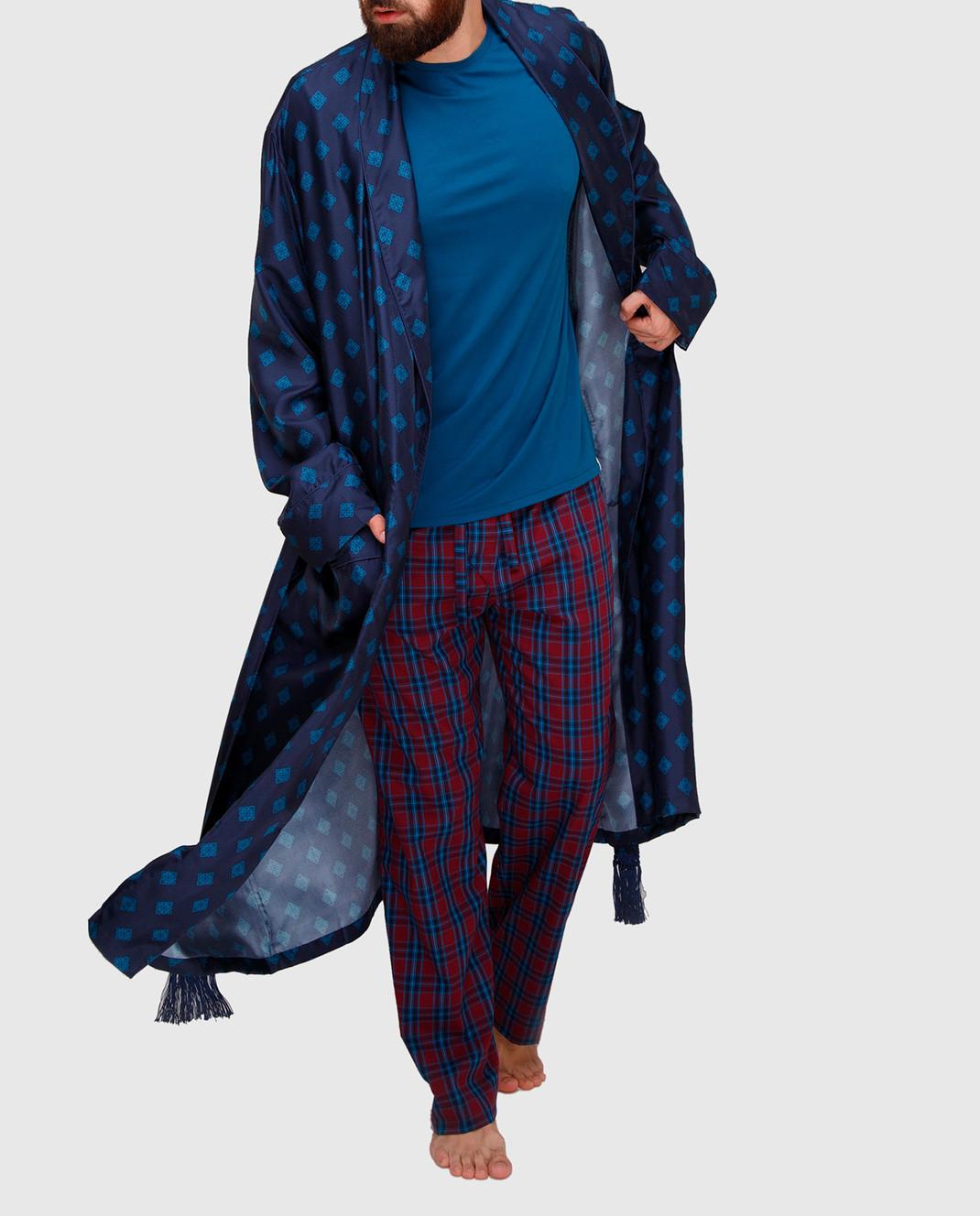 Derek Rose Темно-синий халат из шелка 5535OTIS011 изображение 2
