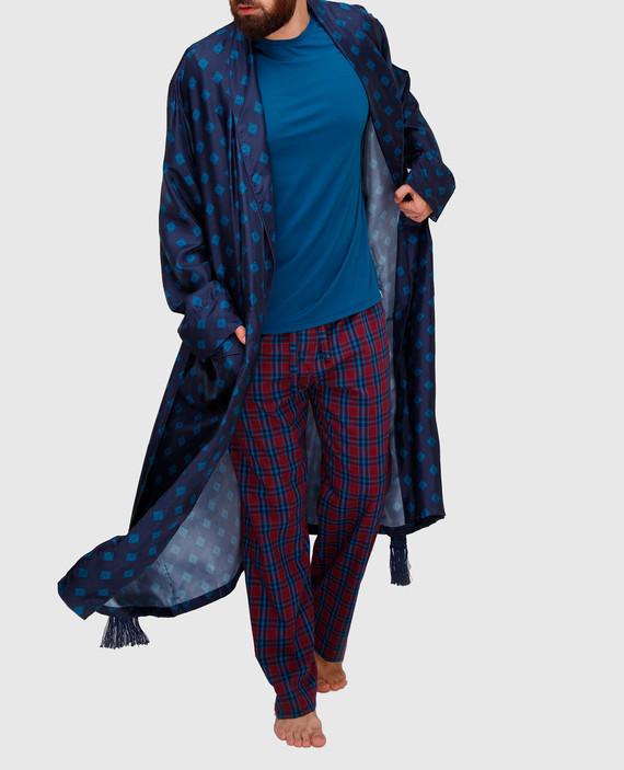 Темно-синий халат из шелка hover