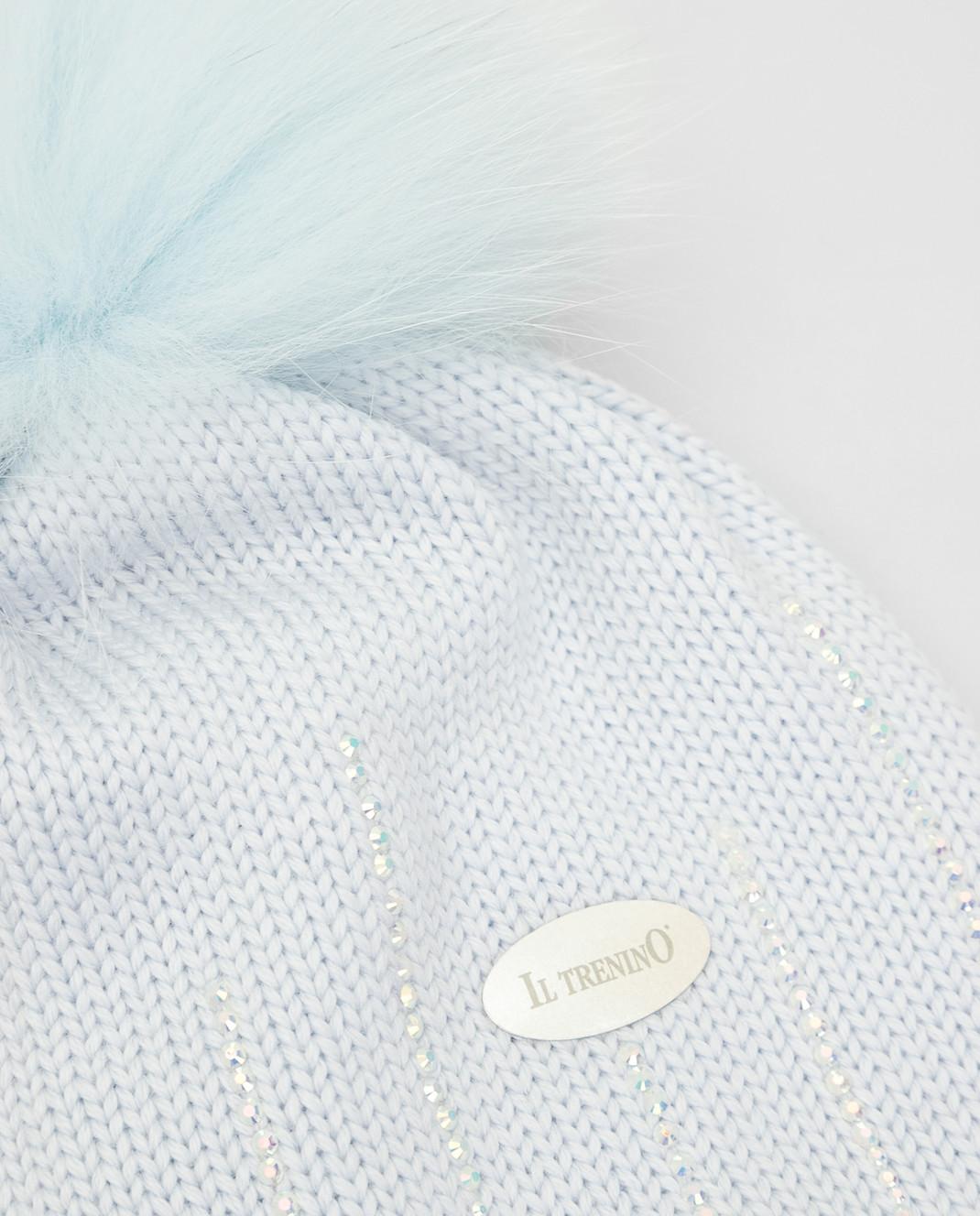 Il Trenino Детская голубая шапка из шерсти изображение 3