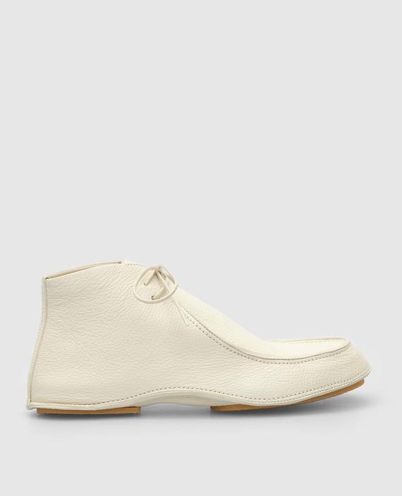 Светло-бежевые кожаные ботинки