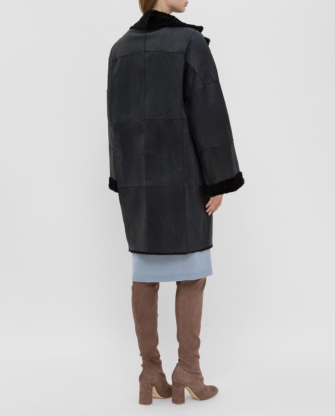 Giuliana Teso Черное пальто из меха кролика изображение 4