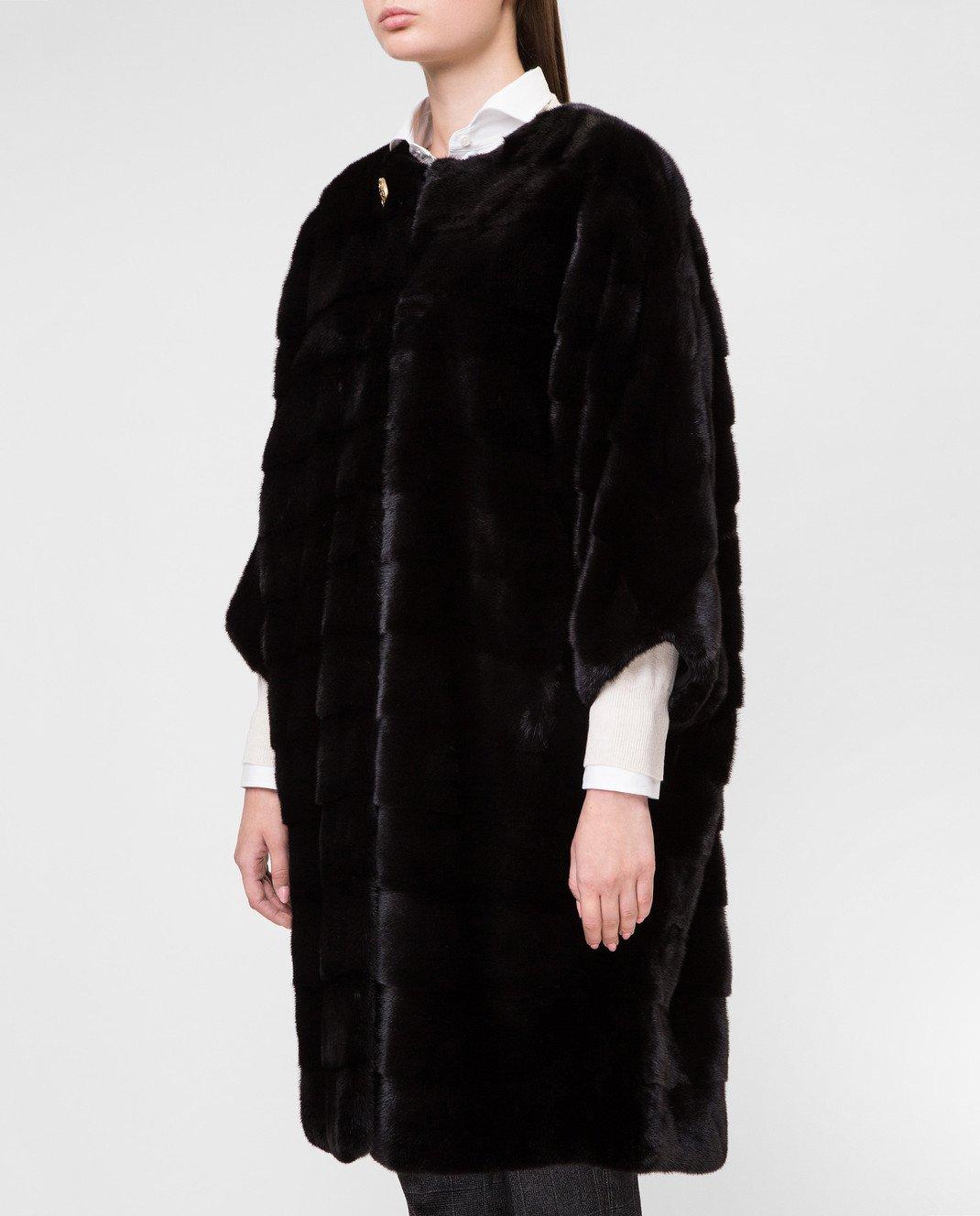 Real Furs House Черное меховое пальто TB923 изображение 3