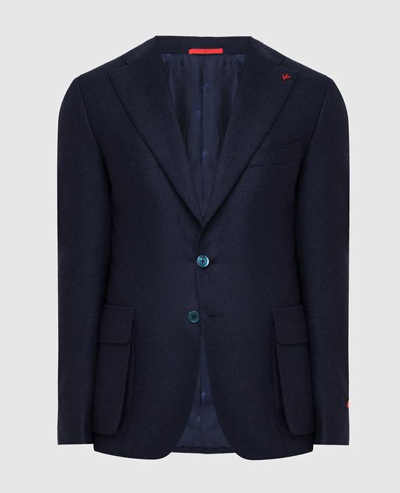 Темно-синий блейзер из шерсти и кашемира