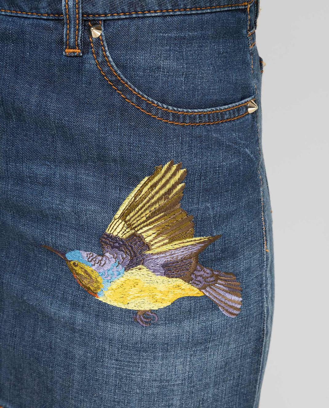 Roberto Cavalli Синяя джинсовая юбка CQJ320 изображение 5