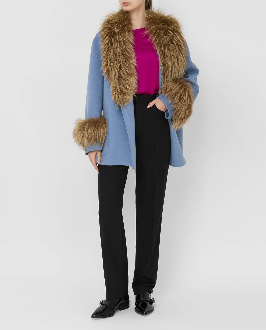 Prada Голубое пальто с мехом лисы изображение 2
