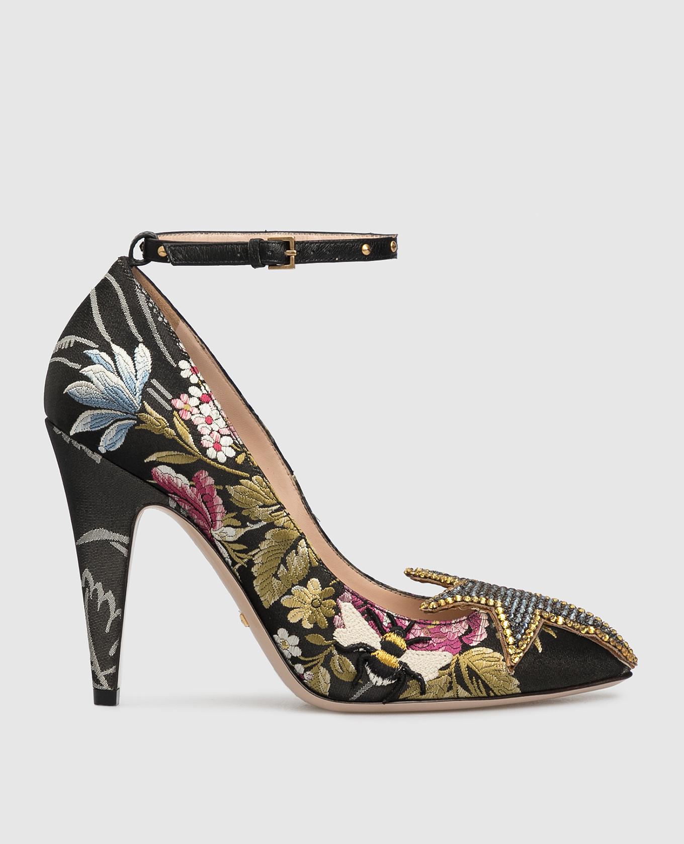 Черные туфли с кристаллами