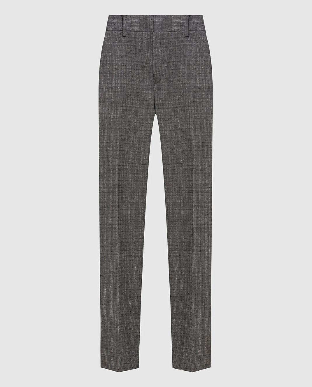 Saint Laurent Серые брюки из шерсти и мохера 502533Y083S