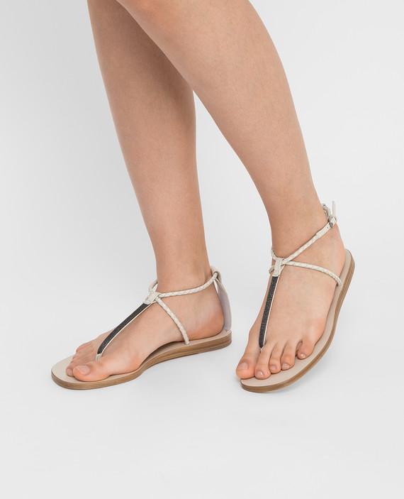 Светло-бежевые кожаные сандалии hover