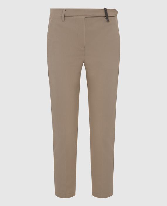 Оливковые брюки из шерсти