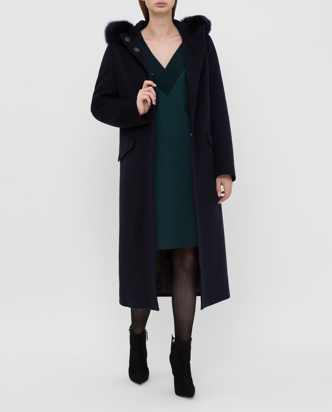 Heresis Темно-синее пальто из шерсти изображение 2