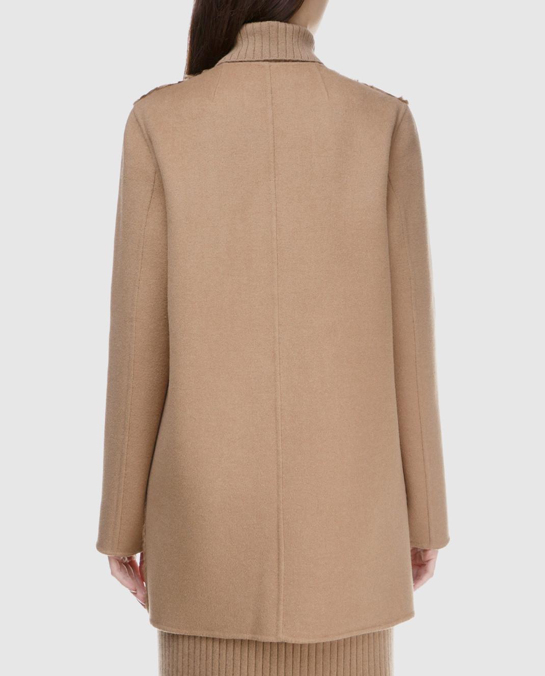 Yves Salomon Бежевое пальто из шерсти с деталями из меха ягненка 8WYM70580JNCA изображение 4