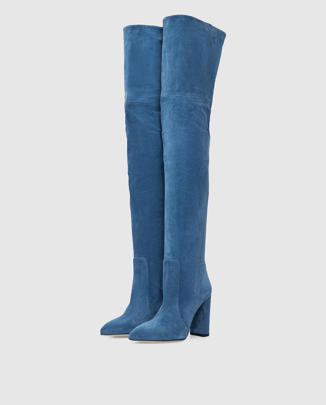 Paris Texas Синие замшевые ботфорты изображение 3