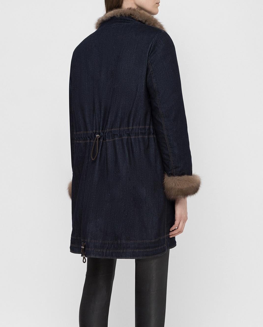 Florence Mode Темно-синяя парка с мехом соболя изображение 4