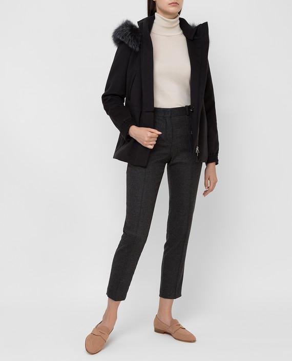Черная куртка из кашемира с мехом лисы hover