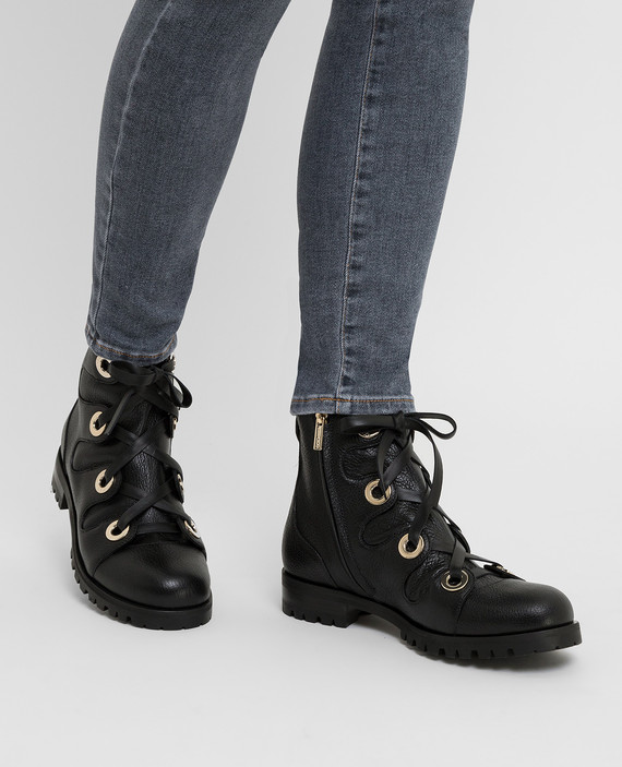 """Черные кожаные ботинки """"Bei Flat"""" hover"""