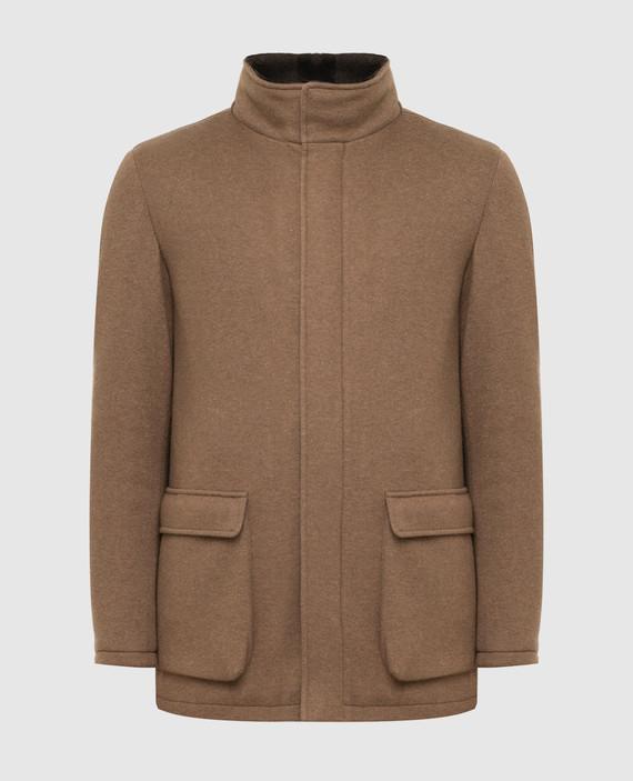 Бежевое пальто из кашемира с мехом нутрии