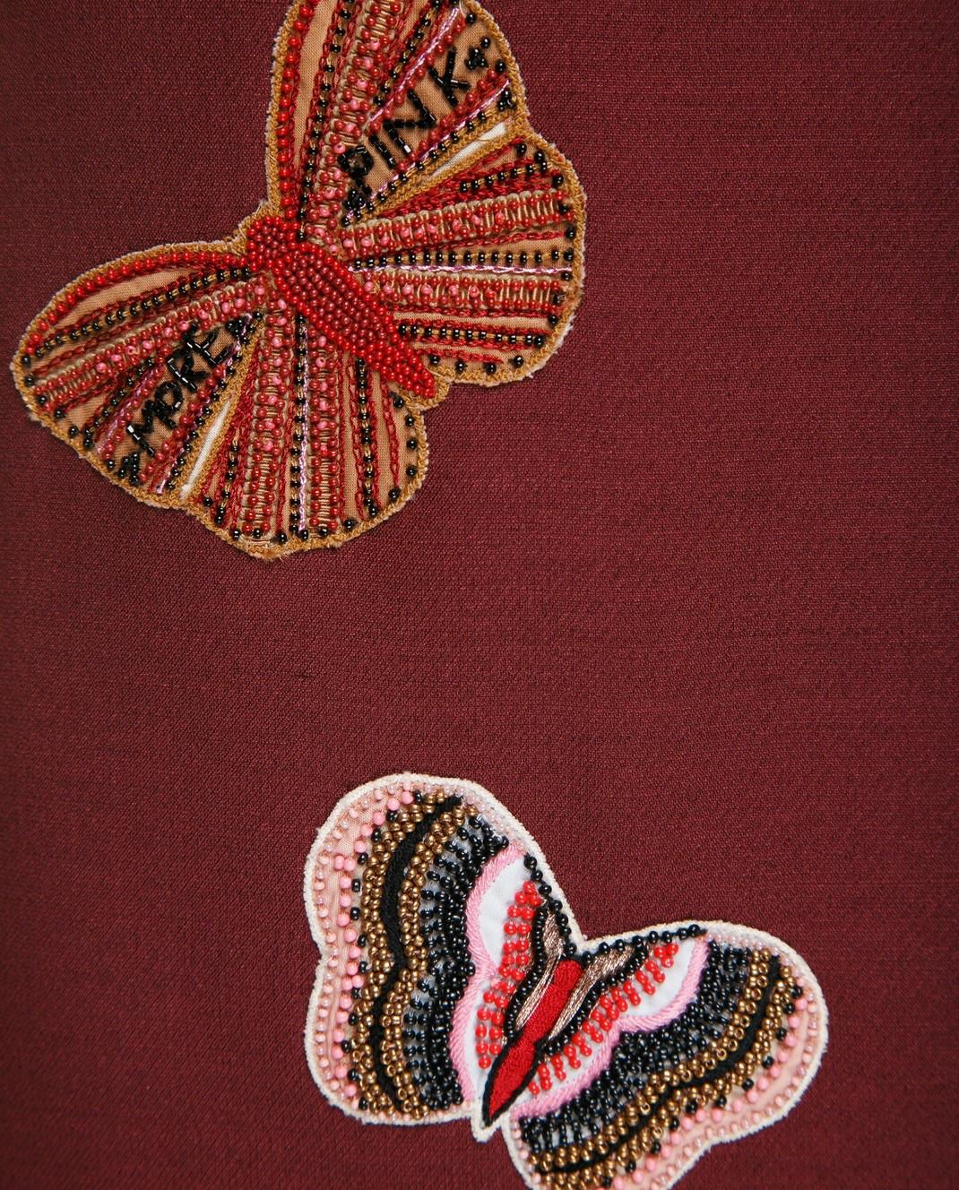 Valentino Бордовая юбка  из шерсти и шелка PB3RA2B01CF изображение 6