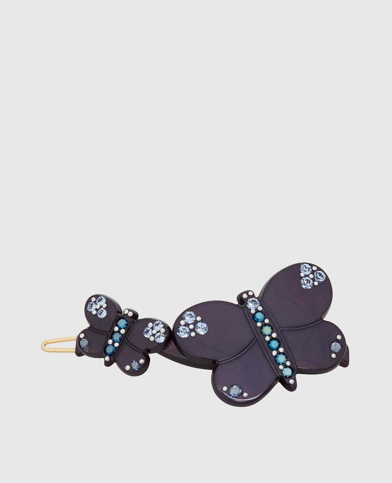 Темно-синяя заколка с кристаллами