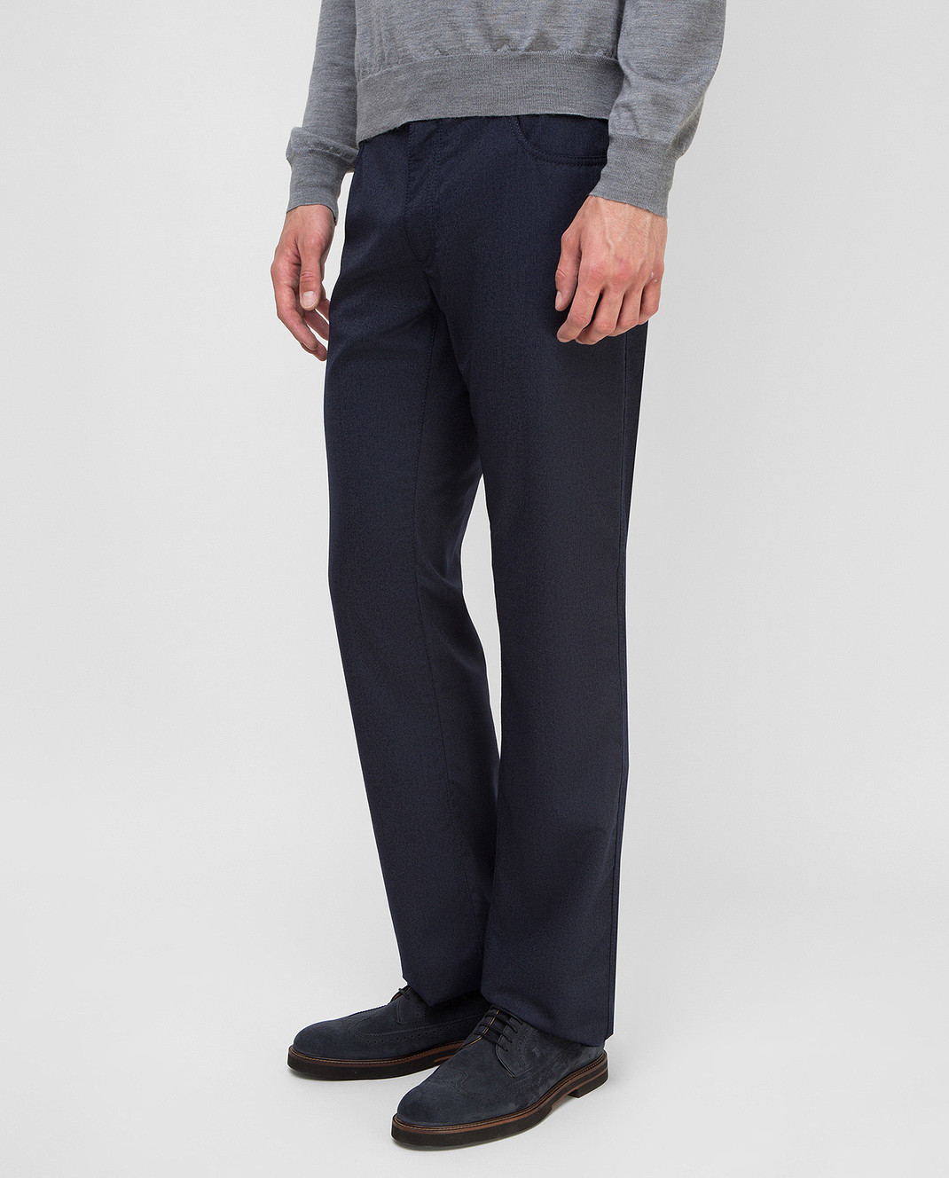 Castello d'Oro Темно-синие брюки из шерсти изображение 3