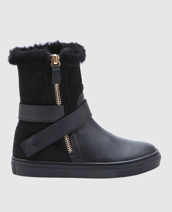 Черные замшевые сапоги на меху с кожаными деталями