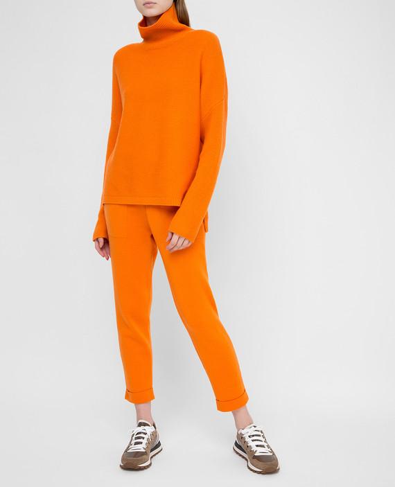 Оранжевые брюки из кашемира hover