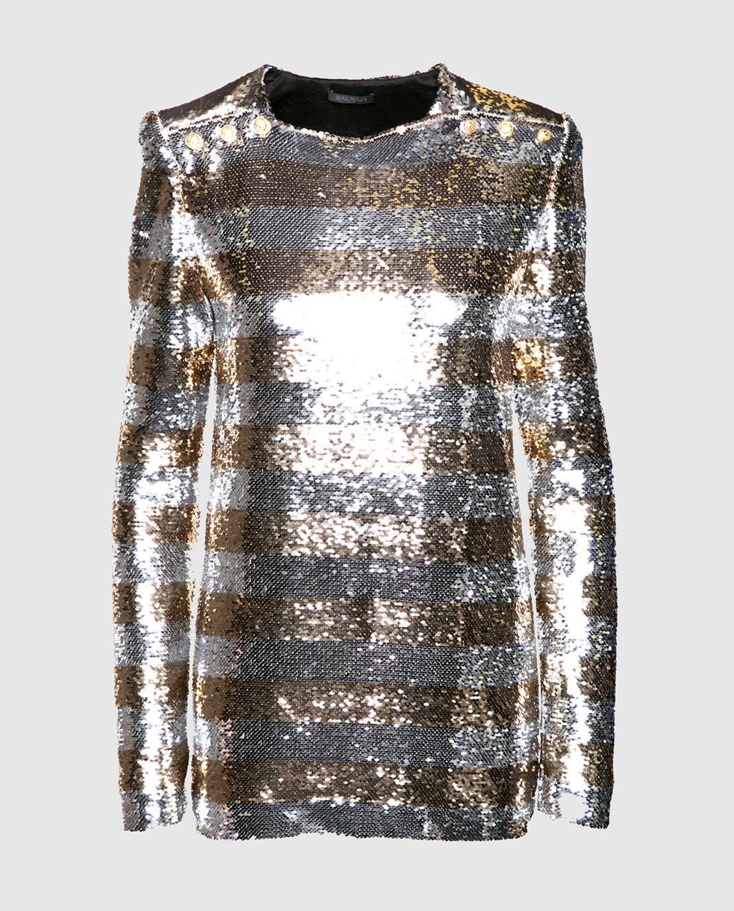 Balmain Серебристая блуза с пайетками 131513
