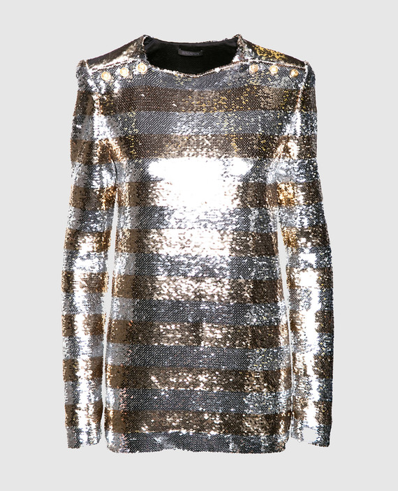 Серебристая блуза с пайетками