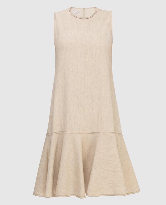 Светло-бежевое платье из льна