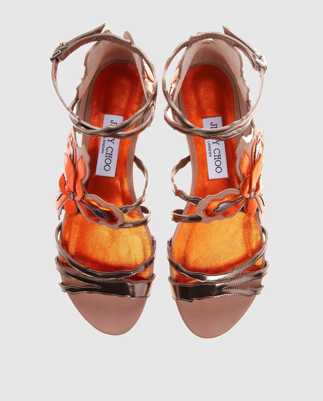 Jimmy Choo Золотистые кожаные сандалии Lolita LOLITAFLATMIV изображение 5