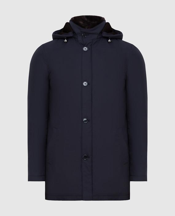Темно-синяя куртка из шелка с мехом кролика и мехом бобра