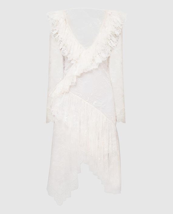 Светло-бежевое платье из кружева