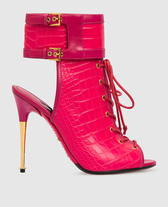 Розовые ботильоны из кожи крокодила