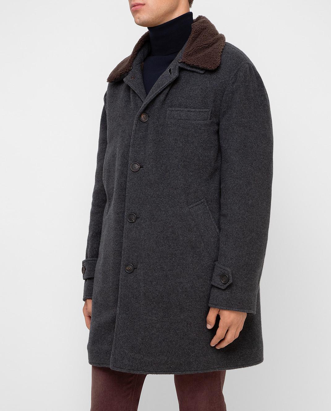 Brunello Cucinelli Серое пальто из кашемира MT4976307 изображение 3
