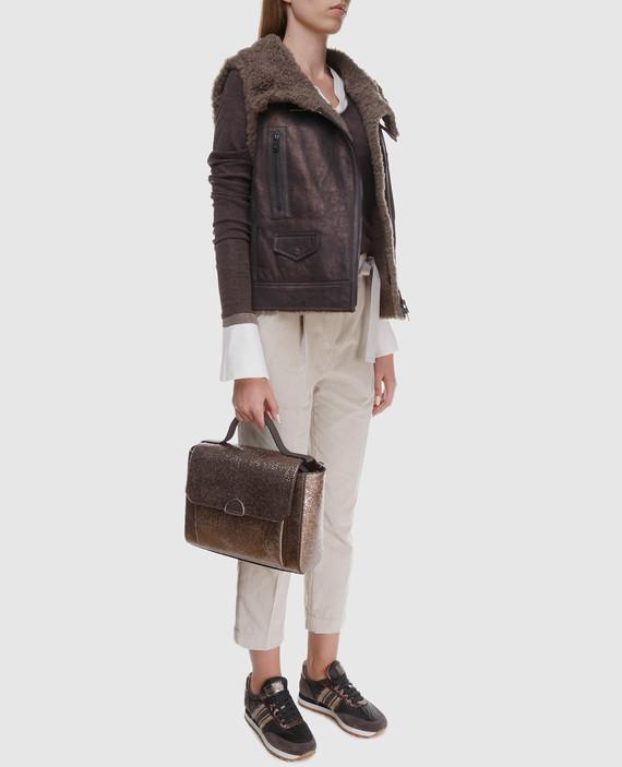 Коричневый кожаный жилет с мехом барашка hover